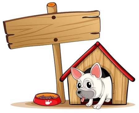 doghouse: Illustration of a wooden signboard beside a doghouse on a white background Illustration