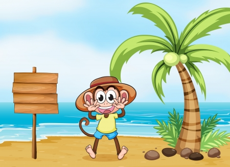 sea mammal: Illustration of a monkey at the beach and the empty board