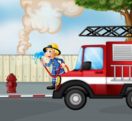 Illustration of a fireman rescuing a fire near the street Vector