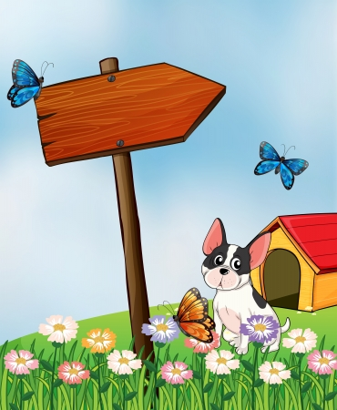 Illustration of a dog and butterflies in the garden Vector
