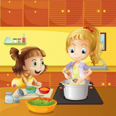 Niños ayudando: Ilustración de una madre y su hija cocinando juntos