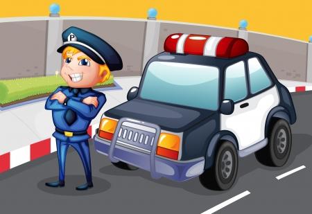 raod: Illustration of a policeman standing beside his patrol car