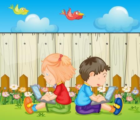 patio escuela: Ilustraci�n de los ni�os con las computadoras port�tiles Vectores