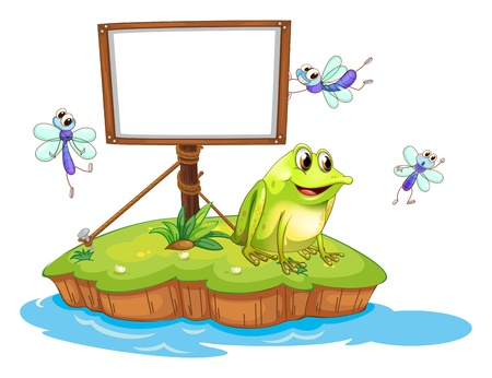 island clipart: Illustration of a frog and flies in an island on a white background