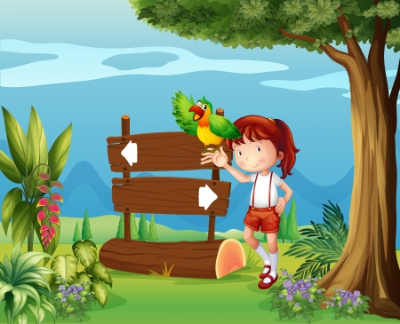lady bird: Illustration of aparrot and a girl beside a signboard in the forest