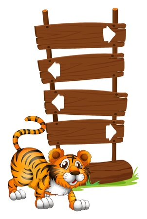 tiger cub: Illustration of a tiger in front of a wooden signboard on a white background