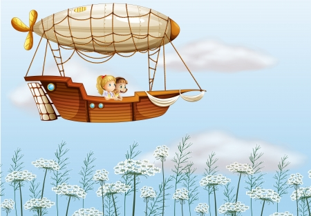 flying boat: Illustration of two young ladies carried by the airship