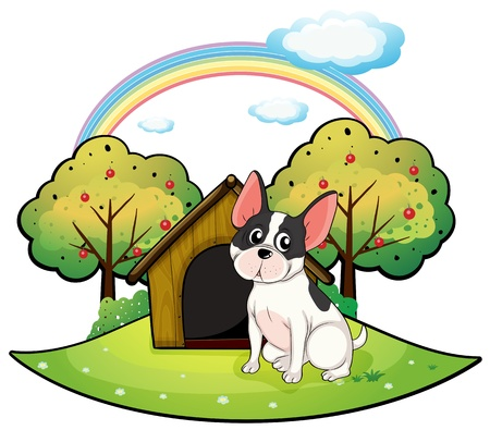 Illustration of a dog beside a dog house on a white background Stock Vector - 18004944