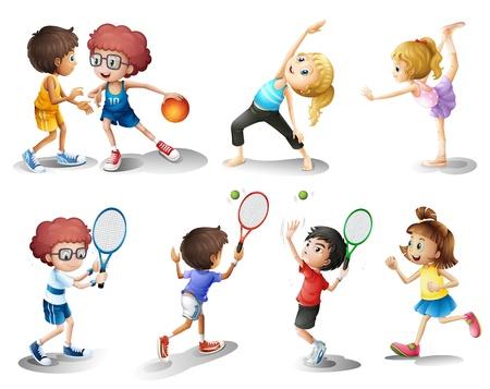 tanzen cartoon: Illustration von Kindern trainieren und spielen verschiedene Sportarten auf weißem Hintergrund