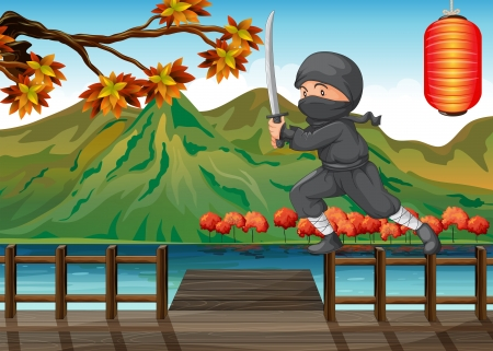 Illustration of a gray ninja at the seaport Vector