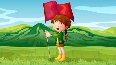 cartoon mountain: Illustration of a girl holding a flag