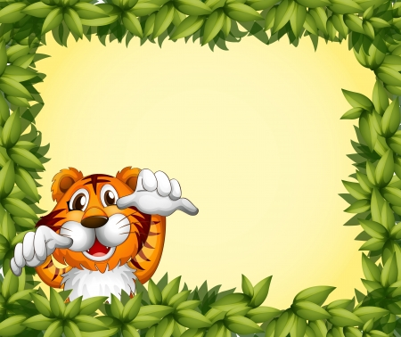 Illustration of a green frame with a tiger inside Vector