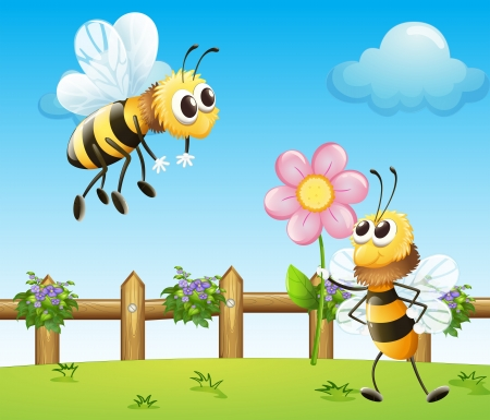 Illustration of two bees inside the wooden fence Vector