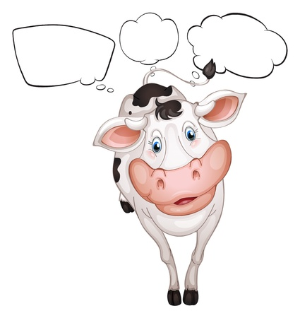 Illustration of a cow with empty callouts on a white background Vector