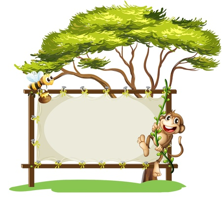 swinging: Illustration of a monkey and the bee beside the empty signage on a white background Illustration