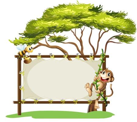 Ilustración de un mono y la abeja al lado de la señalización vacía sobre un fondo blanco