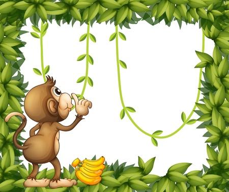 banaan cartoon: Illustratie van een aap met banaan en het groene kader