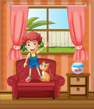 toy house: Illustration of a boy standing at the sofa inside the house