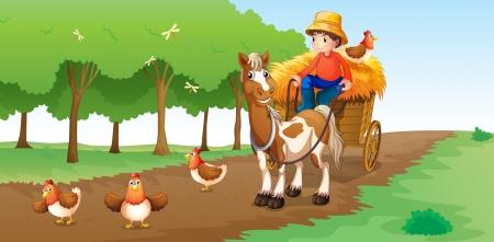 Illustratie van een boer met dieren