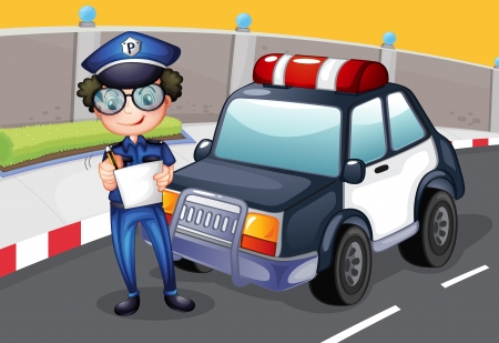 green road: Illustration of a policeman with his police car