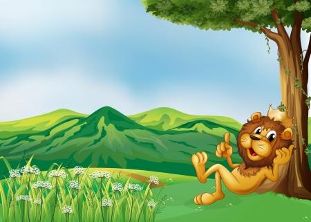 gato jugando: Ilustración de un rey león se relaja en la cima de la colina