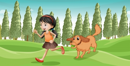 Illustration of a girl running with her dog Vector