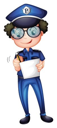 cartoon police officer: Illustration of a policeman with a pen and paper on a white background