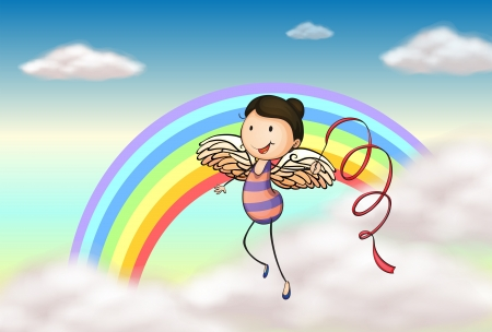 Illustration of an angel near the rainbow Vector