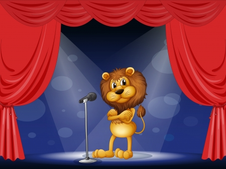 performing: Illustration of a lion performing on stage