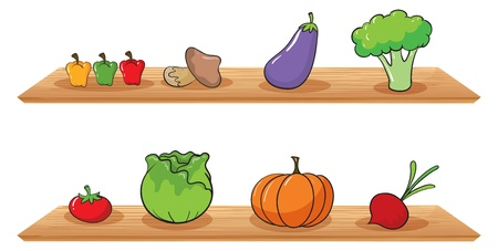 Illustration of fruits at the wooden shelves on a white background Vector
