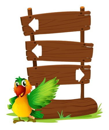 Illustration of a parrot at the left side of a sign board on a white background Vector