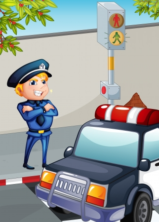 Illustration of a traffic enforcer Vector