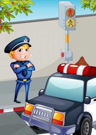 semaforo peatonal: Ilustración de un tráfico de Enforcer Vectores