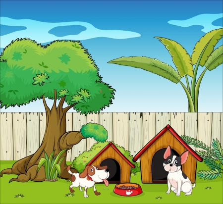 Illustration of two dogs inside the fence Vector