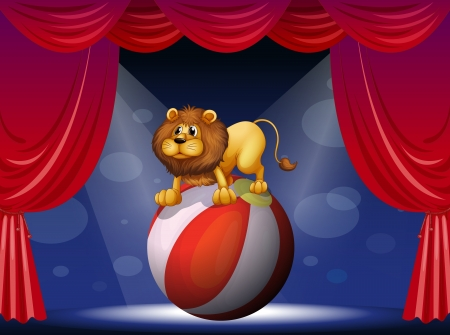 Illustration of a lion performing at the circus Stock Vector - 18005048
