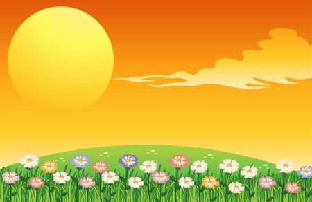 hot spring: Illustration of the bright full moon Illustration