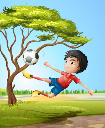 Illustration of a boy playing soccer at the road Vector