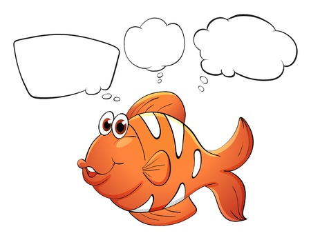 clownfish: Illustration of an orange fish with empty bubbles notes on a white background