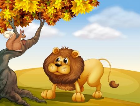Illustration of a lion looking at the squirrel Vector