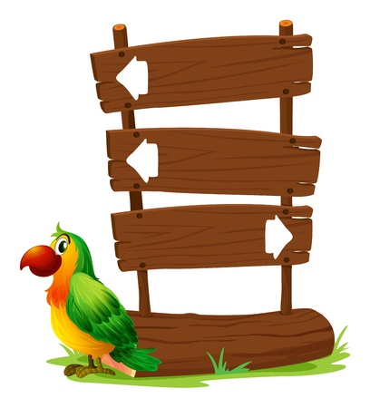Illustration of a colorful parrot beside a signboard on a white background  Vector