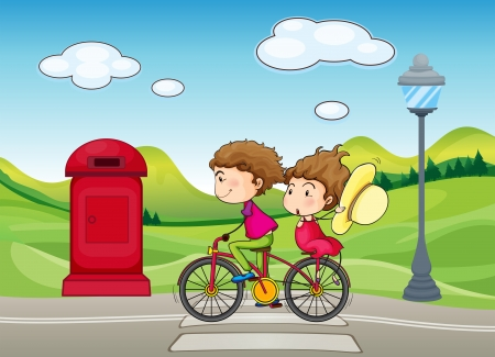 lamp post: Illustration of a boy and a girl biking
