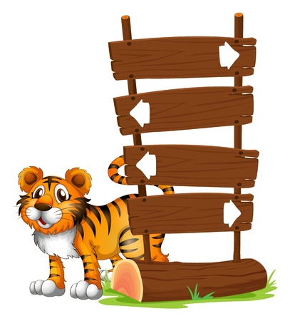 wooden signboard: Illustration of a tiger at the back of a signboard on a white background Illustration