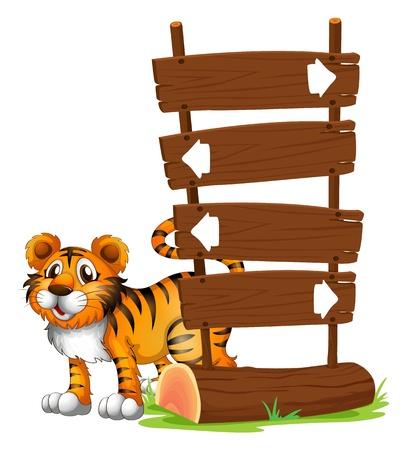 tigre bebe: Ilustración de un tigre en la parte posterior de un cartel en un fondo blanco