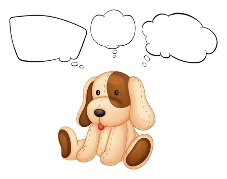 thinks: Illustration of a puppy with empty thoughts on a white background Illustration