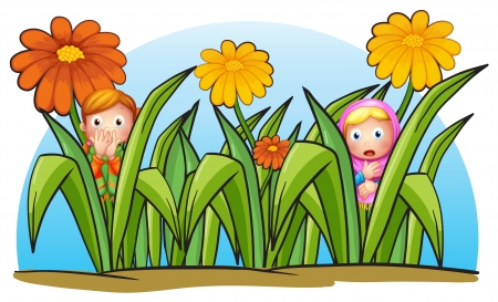 Illustration of two little girls hiding on a white background Vector