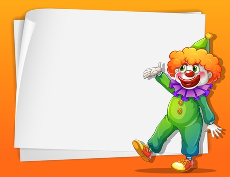 Illustration of a clown beside an empty space Vector