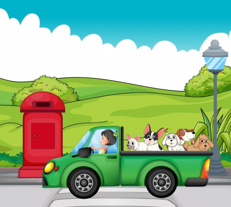 Illustration of a green vehicle with dogs at the back Vector