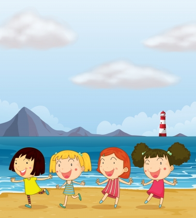 friends cartoon: Illustration of four girls dancing together at the beach Illustration