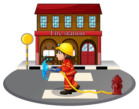 building fire: Illustration of a fireman holding a hose on a white background