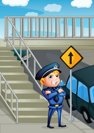 steel bridge: Illustration of a wise face of a policeman